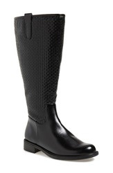 David Tate 'Quest' Embossed Boot Women Wide Calf Black Woven