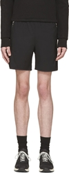 Tim Coppens Black Wool And Leather Zip Shorts
