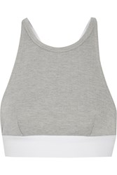 Alexander Wang Cotton Blend Pique Sports Bra Gray