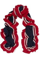 Madeleine Thompson Ava Ruffled Striped Cashmere Scarf Midnight Blue