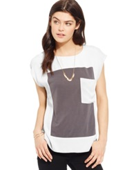 Suede Juniors' Colorblocked High Low Pocket Tee Bright White