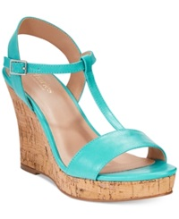 Charles By Charles David Libra Platform Wedge Sandals Women's Shoes Turquoise