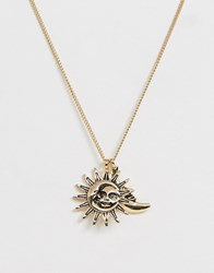 Monki Sun And Moon Pendant Necklace In Gold