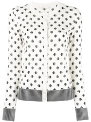 Tory Burch Kingfish Print Cardigan White