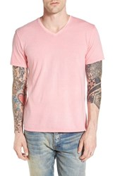 The Rail Men's V Neck Cotton T Shirt Pink Shore Gd