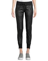 Blanc Noir Faux Leather Drawstring Jogger Pants Black