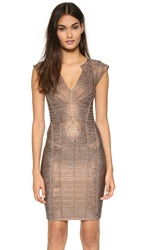 Herve Leger Margeaux Dress Bronze Combo