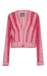 Monique Lhuillier Embellished Cropped Cardigan Pink
