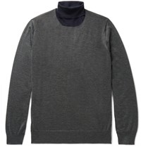 Brunello Cucinelli Cashmere And Silk Blend Rollneck Sweater Charcoal