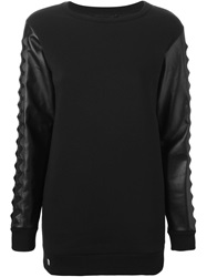 Philipp Plein Pyramid Studded Sleeve Sweatshirt Black