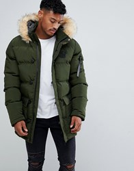 Sik Silk Siksilk Parka Jacket With Fur Hood In Khaki Green
