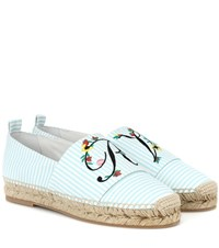 Roger Vivier Blooming Rv Canvas Espadrilles Blue