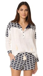 Liv Cook Island Peasant Blouse White Navy