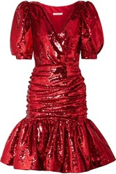 Rodarte Ruched Sequined Crepe Mini Dress Red