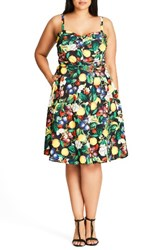 City Chic Plus Size Women's Fruit Salad Fit And Flare Sundress