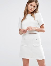Fashion Union Textured Co Ord Top Cream