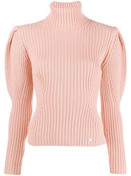 Elisabetta Franchi Roll Neck Knitted Top Pink