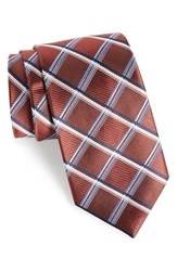 Nordstrom Men's Men's Shop Club Grid Silk Tie Burgundy
