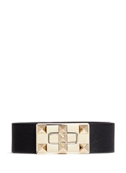 Valentino 'Rockstud' Twist Buckle Leather Bracelet Black