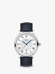 Montblanc 119956 Unisex Star Legacy Date Leather Strap Watch Blue White