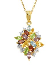 Lord And Taylor Multi Stone Cluster Pendant Necklace