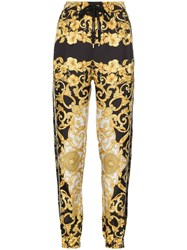 Versace Printed Loose Fit Silk Track Pants Black