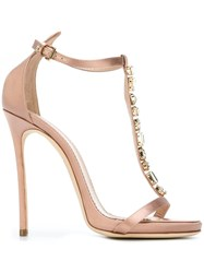 Dsquared2 Glass Stone Strap Sandals Pink And Purple