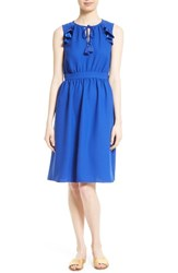 Kate Spade Women's New York Ruffle Crepe Fit And Flare Dress Blue
