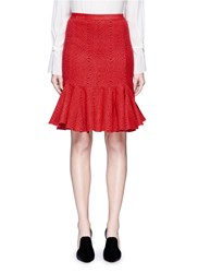 Lanvin Graphic Intarsia Kick Flare Knit Skirt Red