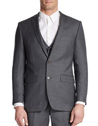 Tallia Orange Slim Fit Two Button Woven Wool Blazer Medium Grey