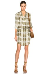 Haute Hippie Button Down Shirt Dress In Green Ombre And Tie Dye