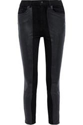 Dl1961 Woman Farrow Leather Paneled High Rise Skinny Jeans Black