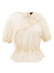 Simone Rocha Frill Trimmed Puff Sleeve Tulle Top Nude
