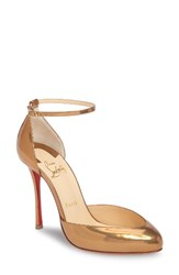 Christian Louboutin Women's Dollyla Ankle Strap Pump Metallic Gold