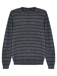 Aquascutum London Aquascutum Rolfe Stripe Crew Neck Merino Wool Jumper Grey