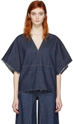 Maison Martin Margiela Mm6 Blue Denim Blouse