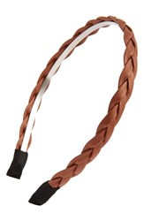 Cara Braided Faux Leather Headband Brown