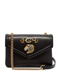 Gucci Tiger Head Leather Shoulder Bag Black