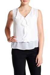 Laundry By Shelli Segal Sleeveless Front Ruffle Blouse White