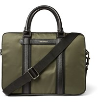 Dolce And Gabbana Leather Trimmed Twill Briefcase Green