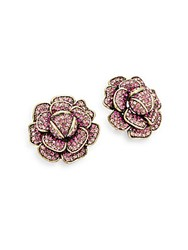 Heidi Daus Crystal Flower Earrings Gold Pink