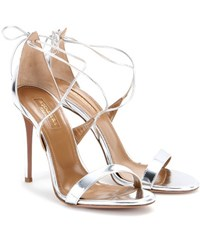 Aquazzura Linda 105 Metallic Leather Sandals Silver
