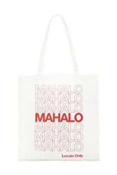 Forever 21 Mahalo Graphic Tote Bag Beige Red