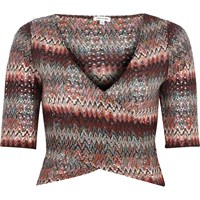 River Island Womens Red Zig Zag Wrap Front Crop Top