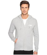 Obey Foster Zip Hoodie Heather Grey Men's Sweatshirt Gray