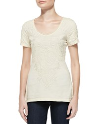 Biya Cynthia Scoopneck Embroidered Tee Brie