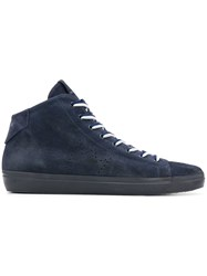Leather Crown Perforated Logo Hi Top Sneakers Blue