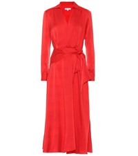 Equipment Vivienne Silk Blend Dress Red