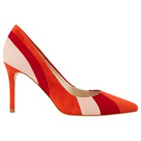 Karen Millen Stripe Pointed Toe Court Shoes Red Multi