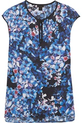 J.Crew Collection Floral Print Silk Top Blue